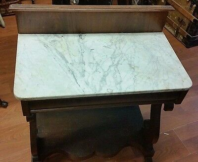 Federal Marble Top 1 Draw Stand Unusual 1840`s Empire Piece