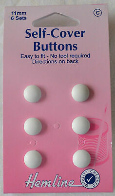 Hemline Self Cover Buttons 11mm, 6 Sets, Plastic, Easy to Fit No Tools Required