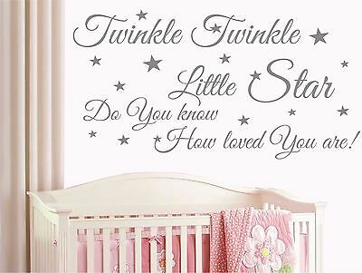 Twinkle twinkle Little Star Wall Quote Art Words Decals Sticker Child Bedroom T8