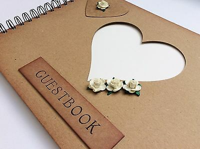 wedding party guest book, guest signing book, ivory roses rustic guestbook