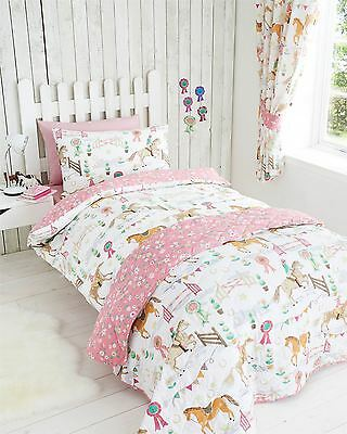 Girls White, Green & Pink Horse and Pony Show Single Duvet Cover Bedding Bed Set