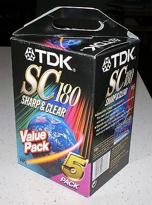 5 Pack - BLANK TDK SC180 Sharp & Clear 3 hour VHS Tapes