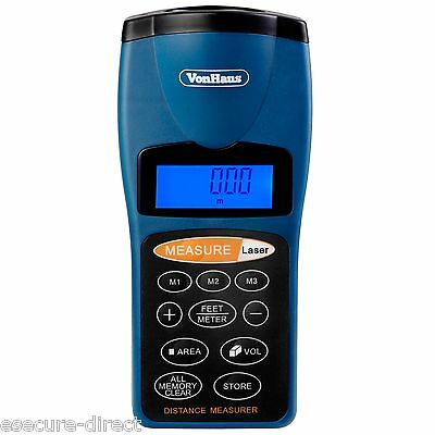 VonHaus Ultrasonic Distance Meter Measurer w/Laser Guide - 60ft / 18.28m Range