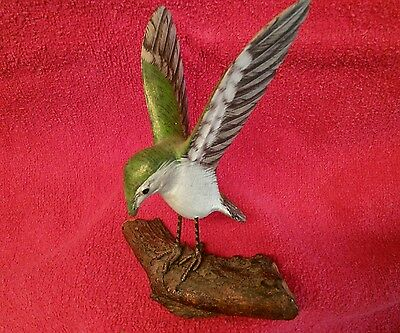 Wood Carved Painted Humming Bird on A Tree Branch,