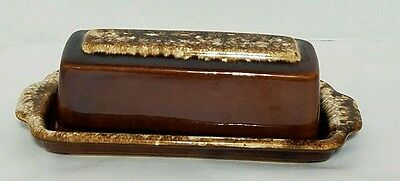 Vintage HULL USA  Brown Drip Oven Proof Butter Dish with Lid