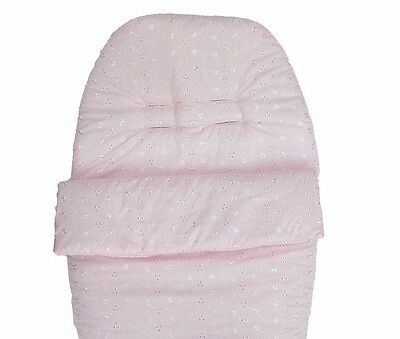 Pink 3 Point Harness Car Seat Liner Cosy Toes Footmuff Broderie Anglaise Romany