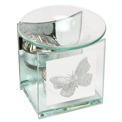 Hestia Oil Wax Tart Burner with Glitter Butterfly Design, 10cm, Glass, HE268