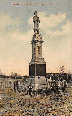 NEW HARTFORD, CT, SOLDIERS' MONUMENT AT CEMETERY, A. SCHMELZER PUB #5, used 1927