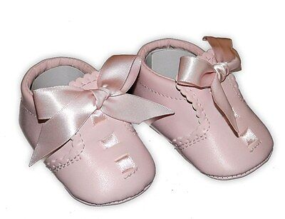Beautiful Slotted Ribbon Pink Spanish Romany Style Pram Shoes Booties by Sevva