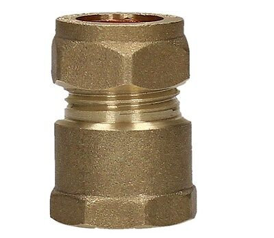 15mm x 1/2 Inch Female BSP Compression Coupling Brass Fitting Connect 5 Pack