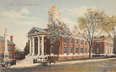 MERIDEN, CT, TOWN HALL VIEW, 1909 DEUTSCHER TAG ADV PC, SCHMELZER PUB #217 used