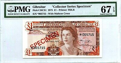 Money Gibraltar Pound 1 Specimen Pmg Superb Gem Unc Pick #20Cs1