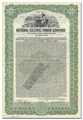 National Electric Power Company Bond Certificate (Maine)