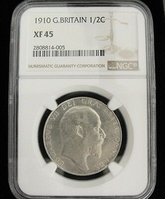 1910 GREAT BRITAIN HALF CROWN SILVER COIN GRADED XF45 by NGC