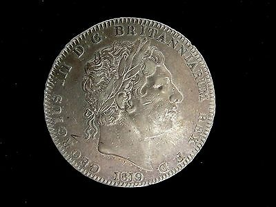 1819 LX GREAT BRITAIN  CROWN SILVER COIN Looks XF