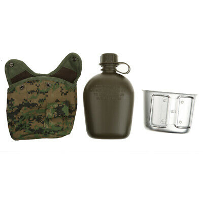 1L Outdoor Camping Hiking Military Water Bottle Canteen & Pouch & Cup Camouflage
