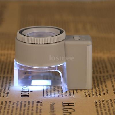 8X Illuminated LED Adjustable Stand Magnifier Magnifying Glass Loup w/Scale G1P3