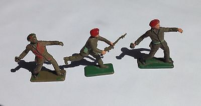 CRESCENT - 60mm painted plastic figures - X3, BRITISH PARATROOP SOLDIERS - 1960s
