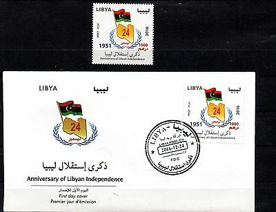 2016- Libya- Anniversary of Libyan Independence- Flag- FDC and stamp MNH**