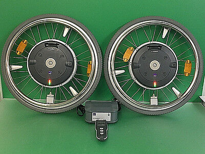 """Alber E-MOTION M15 22"""" Power Assist Wheels w/ Remote & Charger  ~set of 2~ #8985"""