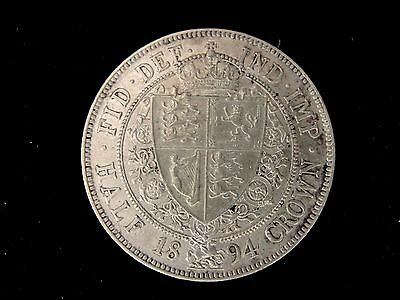 1894 GREAT BRITAIN SILVER HALF CROWN COIN Looks AU