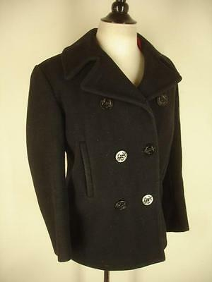 Boys 16 Womens S M Vtg 50's Monterey Club Peacoat Navy Blue Wool Anchor Buttons