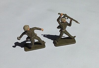 CRESCENT - 54mm painted plastic figures - X2, BRITISH INFANTRY SOLDIERS - 1960s