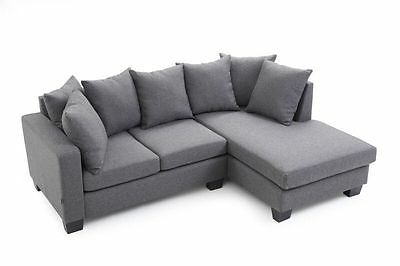 Brand New Eleganze Artisan Corner Sofa L Shape Grey Fabric