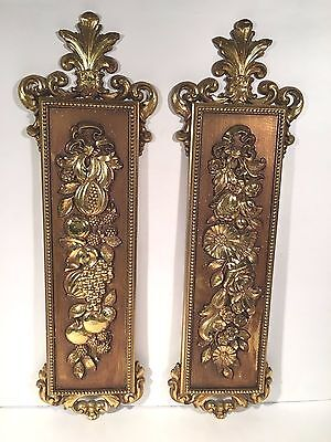 Pair of Vintage Large Syroco Homeco MCMLXX Gold Roses Picture Hollywood Regency