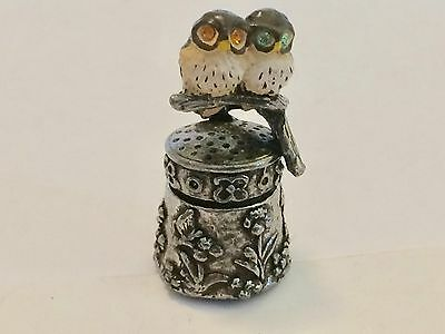 "A Charming Pewter Thimble of ""Two Baby Barn Owls on a branch"" hand painted."