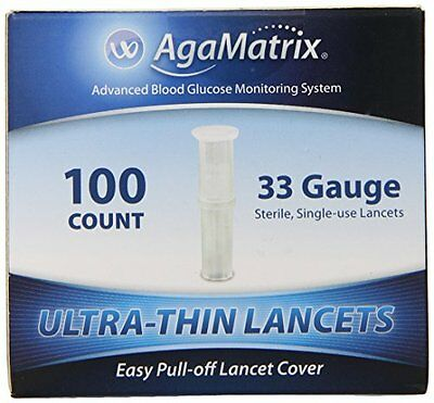 2 Pack AgaMatrix WaveSense Ultra-Thin 33 Gauge Lancets 100 Count Each