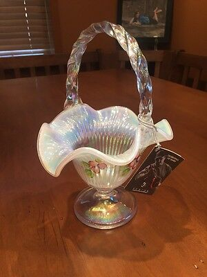 Gorgeous Fenton Hand-Painted J. Powell Grape Opalescent Glass Candy Dish Basket
