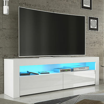 tv rack fernsehschrank lowboard sideboard hochglanz weiss schwarz mit led157 eur 139 00. Black Bedroom Furniture Sets. Home Design Ideas