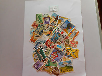100 used postage stamps AVIATION PK 1 no doubles