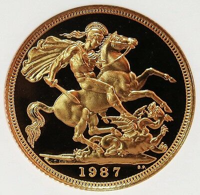 1987 Gold Great Britain Sovereign Coin Ngc Proof 69 Ultra Cameo