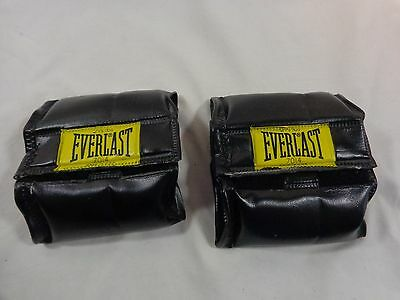 EVERLAST 7014 Ankle Weights 1 Pair 2.5 lb Each Black Leather Adjustable Velcro