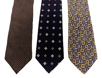 Lot of 3 Ermenegildo Zegna Ties Geometric Black Brown Gray
