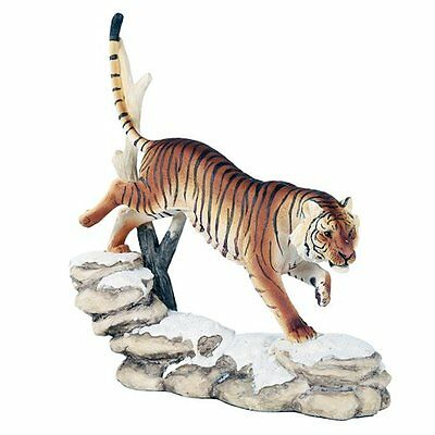 Wildlife Bengal Tiger Trotting On Snowcap Rocks 11 Inch Collectible Figurine Sta