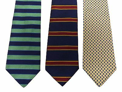 Lot of 3 Brooks Brothers Ties Striped Birds Eye Blue Green Red Yellow