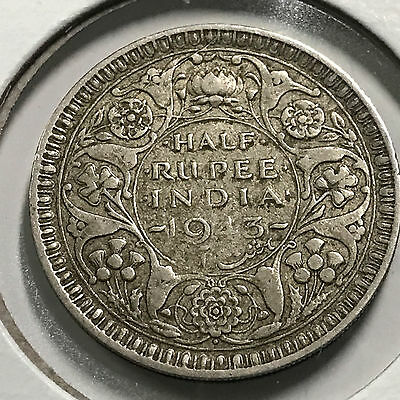 1943 India Great Britain One Half Rupee Silver Nice Grade Coin