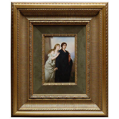 19th century Berlin K.P.M Porcelain Plaque depicting 2 ladies