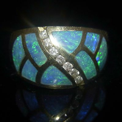 Diamonds Opals Inlay 14k Yellow Gold Ring Band Vintage Estate Jewelry Gift Video