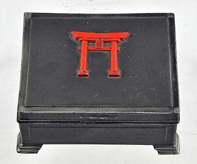 Heavy Pewter Metal Japanese Torii Trinket Box - Cedar Lined