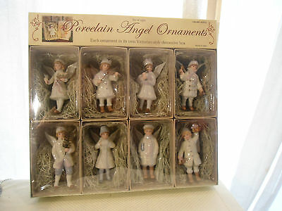 8~Christmas Hand-Painted Porcelain Victorian, Angel Ornaments Pastels- New
