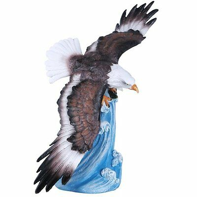 American Bald Eagle Soaring Over Waters Statue Figurine Home Decor Gift 13.5 In