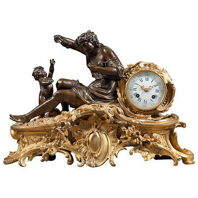 French Antique Napoleon III Gilt & Patinated Bronze Figural Mantel Clock
