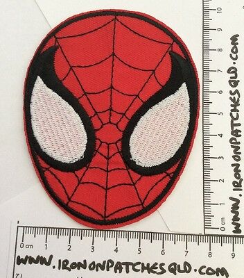 Iron On Patch Spiderman Face Marvel 7.5cm x10cm Sew Applique Embroidered C3