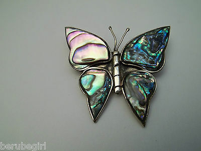 Vintage Made In Mexico Abalone & Alpaca Silver Butterfly Brooch