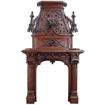A Scottish Gothic Style Carved Walnut & Polychrome Decorated Fireplace/Mantel