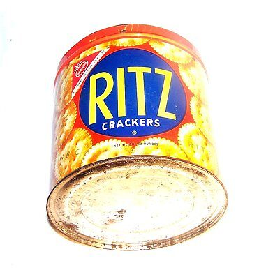 50's Ritz Crackers Spanish Mexican Tin Can Keywind Flat Top Advertising NoRskOfr